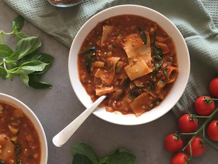 Eenpans lasagne-soep