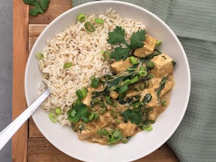 Een pindakaas curry met tofu