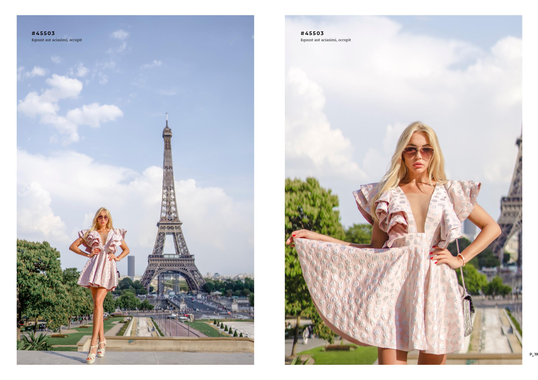 fashion lookbook paris pink dress at eiffel tower