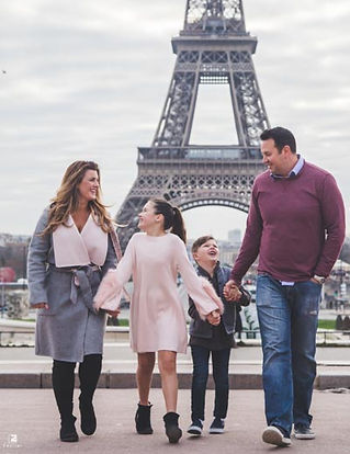 An American Family Doing Photoshoot at Eiffel Tower