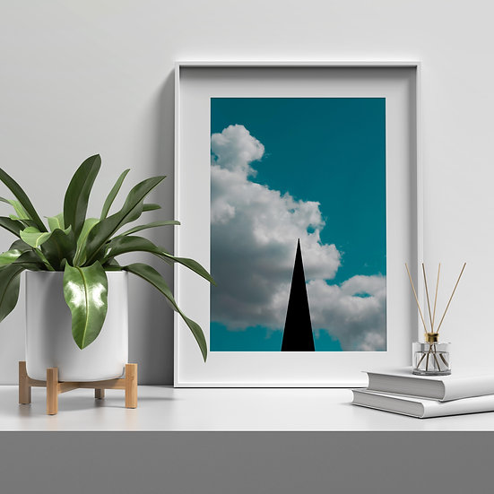 Fine Art Print photo impressive with blue sky, white clouds and sculptures