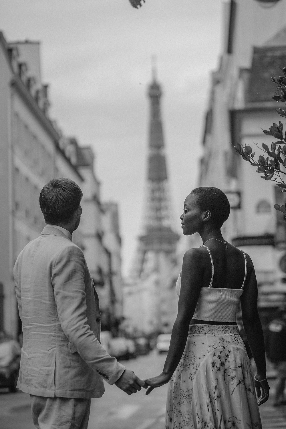 Interracial Couple photo black and white at paris street
