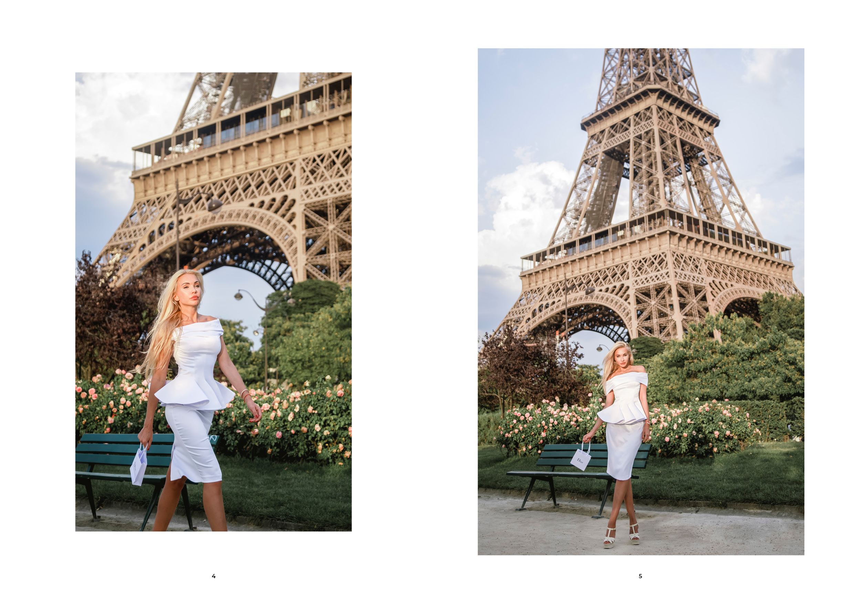 fashion lookbook paris white dress at eiffel tower