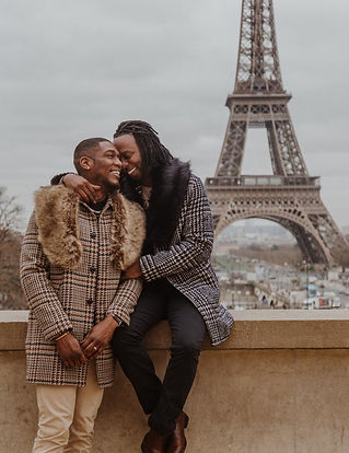 Gay couple at Eiffel Tower