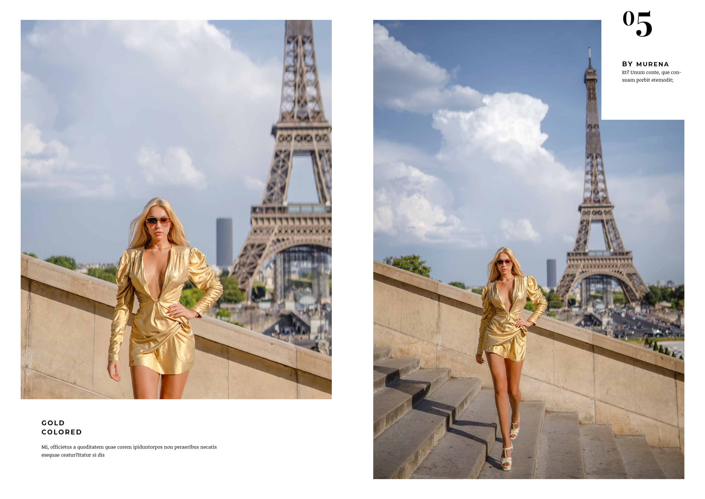fashion lookbook paris golden dress at eiffel tower