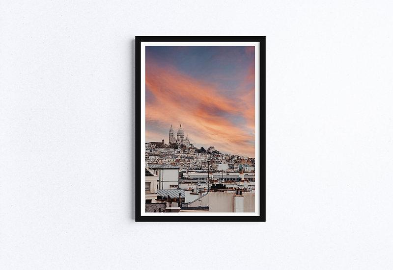 Paris Rooftop in Sunset Fine Art Print