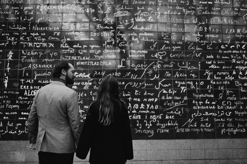 couple photoshoot at Love Wall - Montmartre