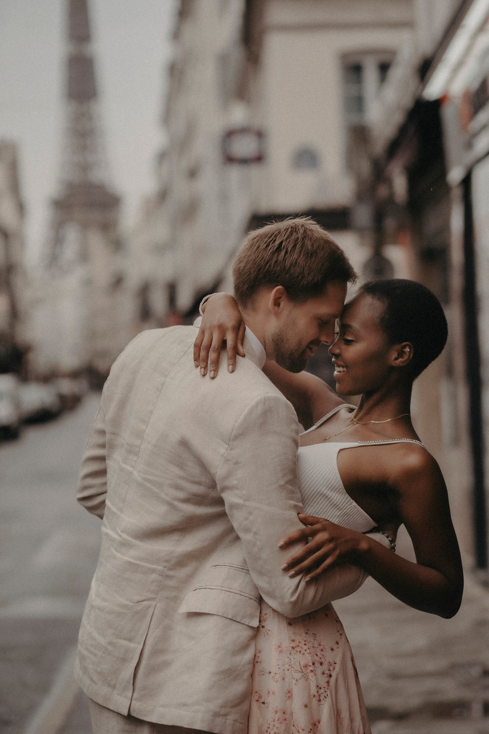 intimate Interracial Couple in Paris