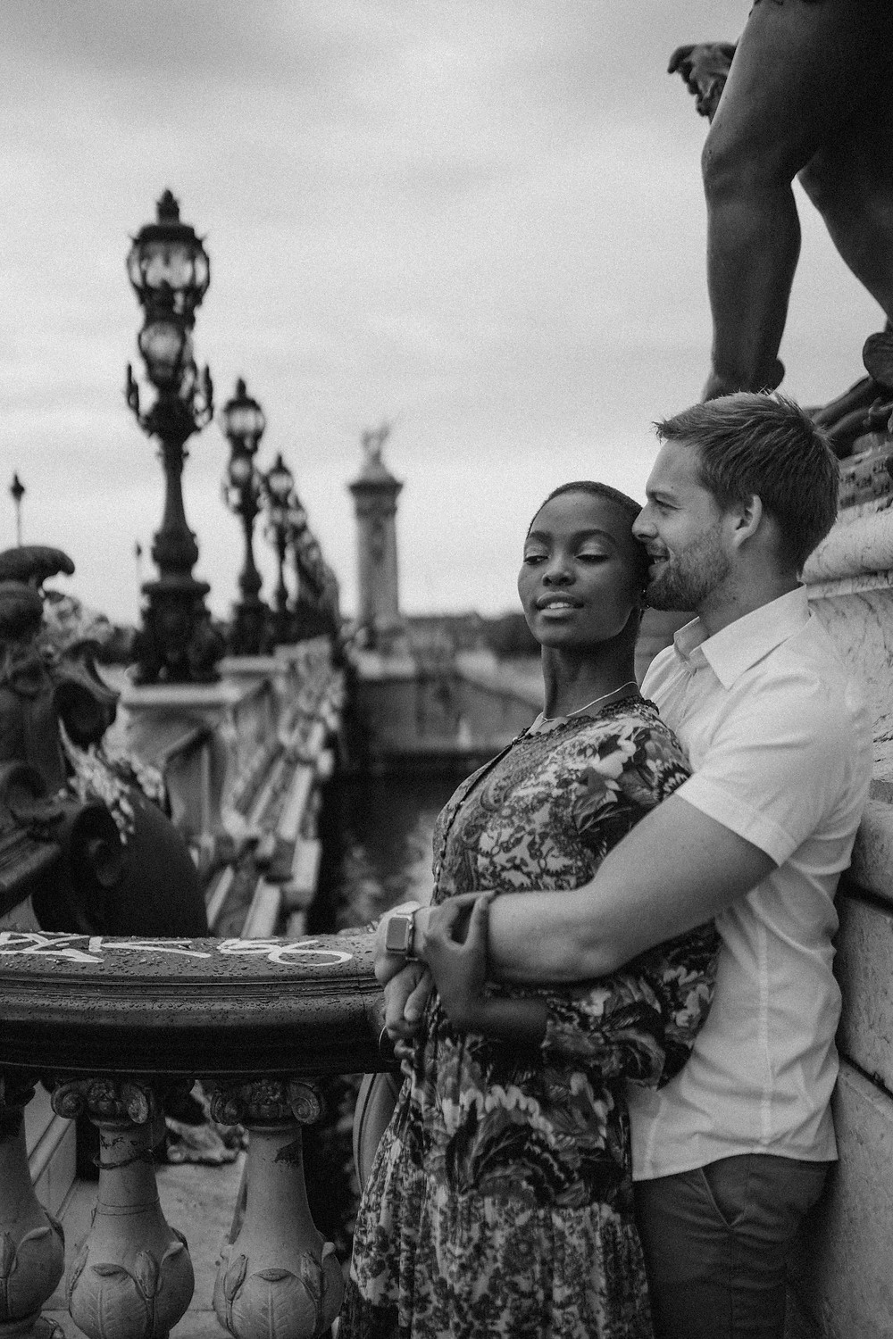 Interracial Couple Photo black and white at pont de alexander III