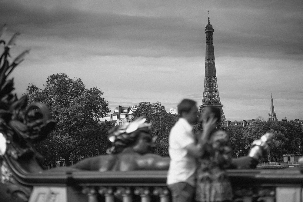 Paris Interracial Couples at pont de alexander III black and white