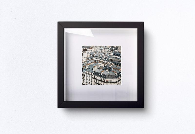 Fine Art Print Paris blue roofs and orange chimney-pots