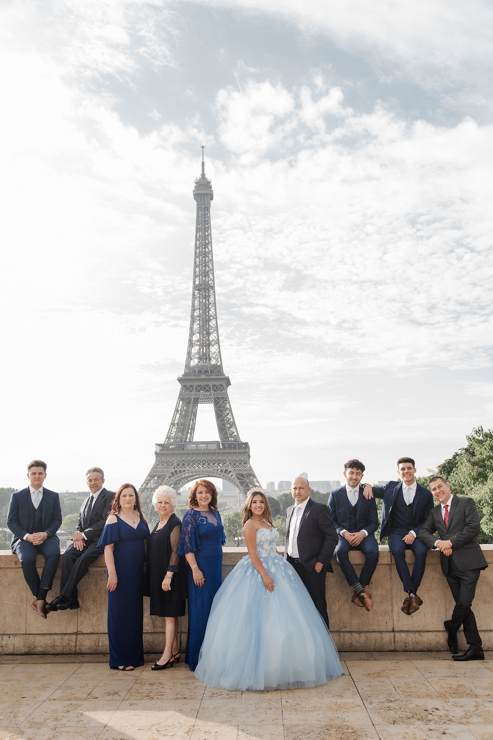 Paris Quinceañera Eiffel Tower with family