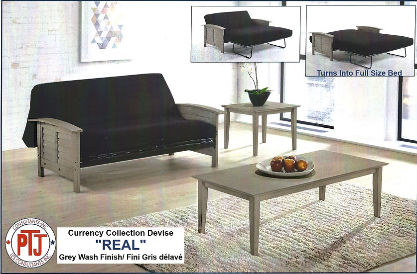 """Real"" - Metal Futon Frame with Gray Arms"