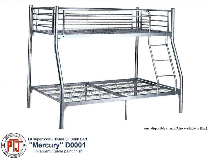 """""""Mercury"""" Twin Over Double Grey Metal Bunk Bed"""