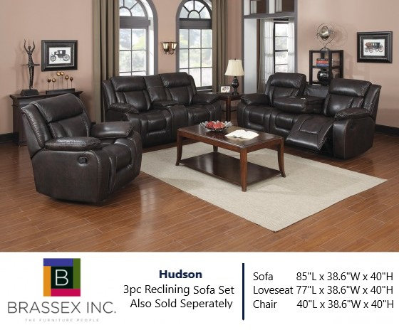 Hudson 3pc Reclining Sofa Set in Espresso (Also Sold Seperately)
