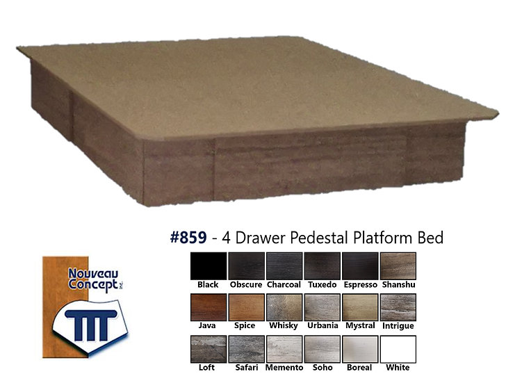 #859 - 4 Drawer Pedestal Platform Bed (18 Colours)