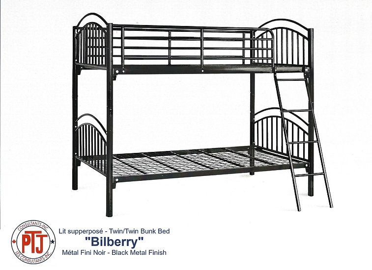 """Bilberry"" Twin over Twin Metal Bunk Bed"