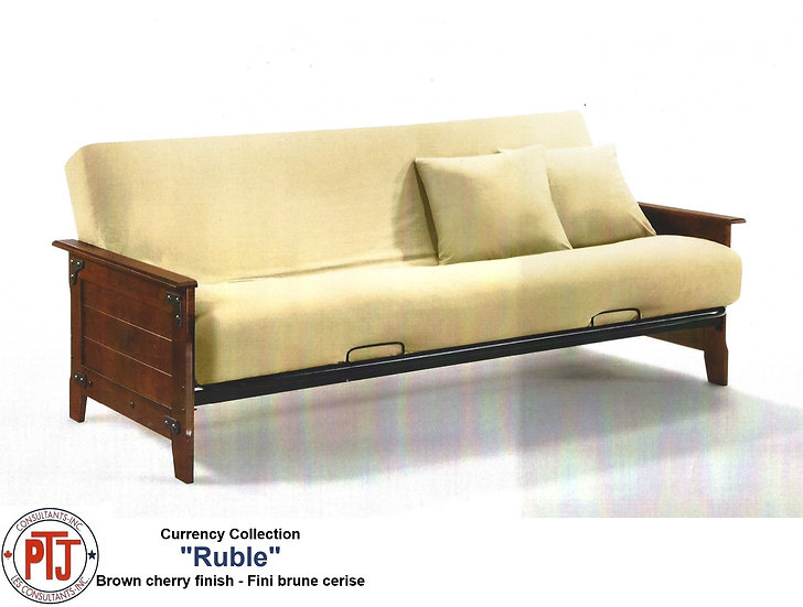 """Ruble"" Futon - Champagne Wooden Arms with Metal Frame"