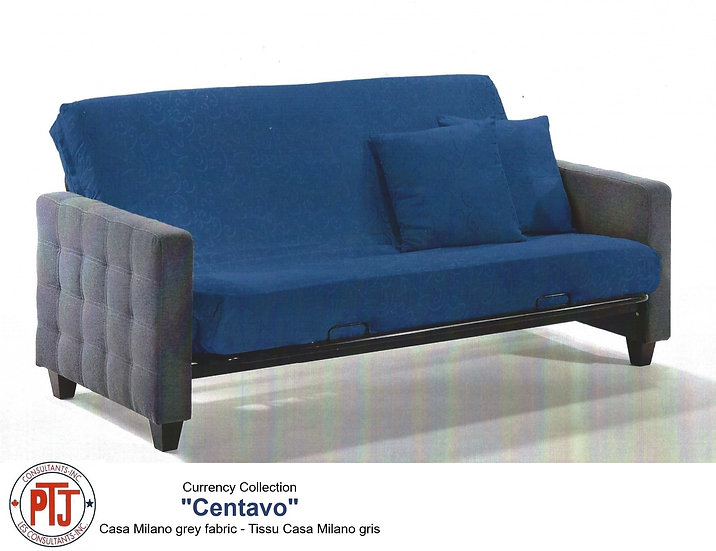 Centavo - Metal Futon Frame with Casa Milano Gray Fabric Arms
