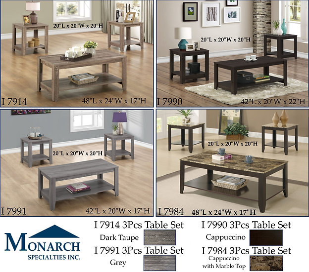 2 Tier - 3 Piece Coffee Table Sets