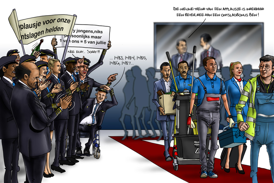 Cartoon_Applaus voor ontslagen collega's