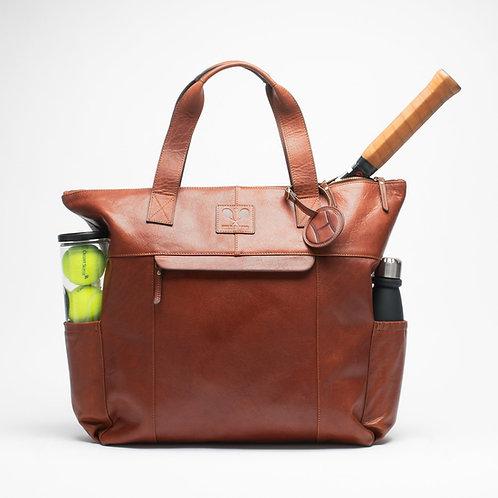 Leather Tennis Tote Bag Cognac