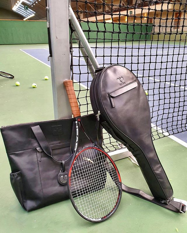 Full leather tennis tote and tennis case