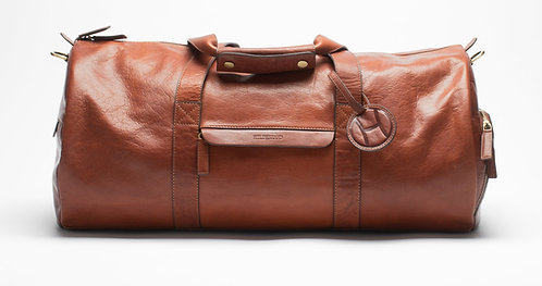 Leather Weekend Duffel Bag Cognac