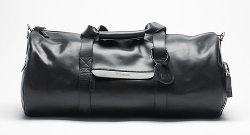 Leather Weekend Duffel Bag Black