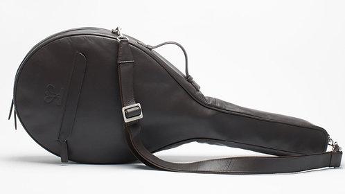 Luxury Leather Tennis Case Dark Brown