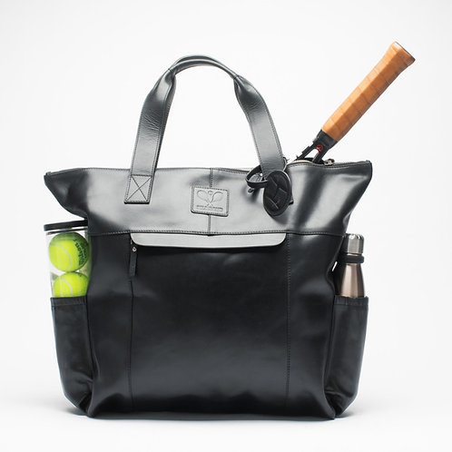 Leather Tennis Tote Bag Black