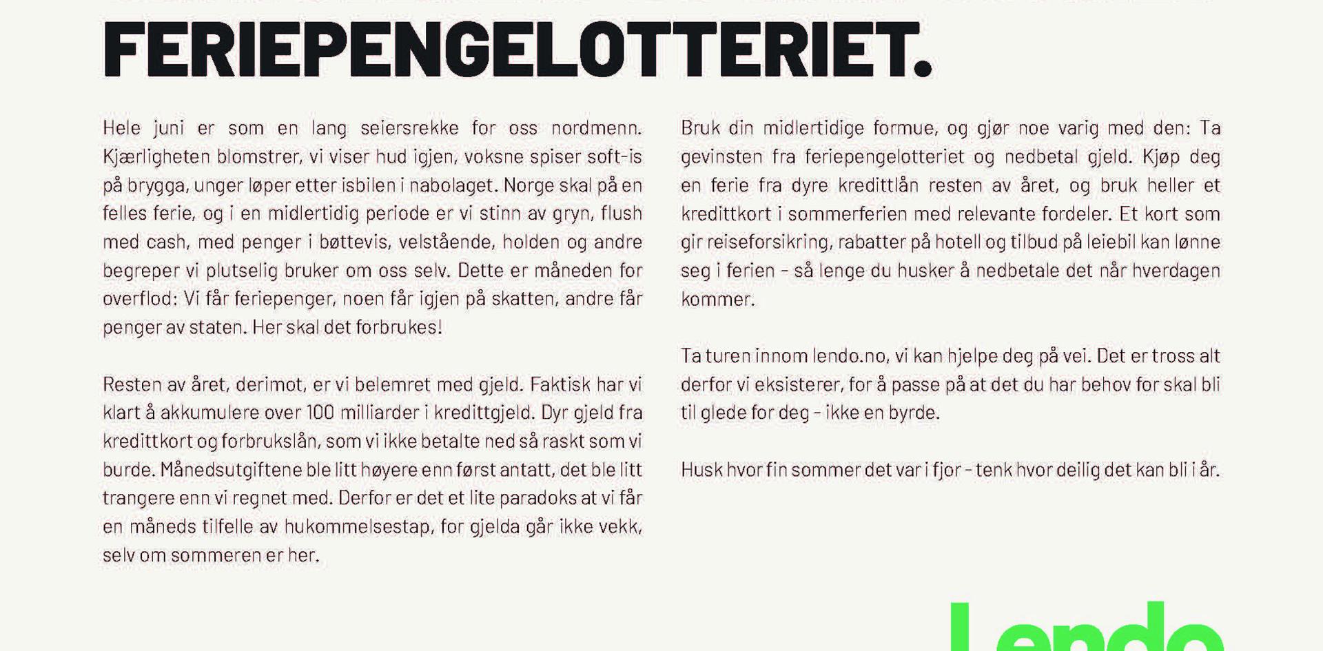 Aftenposten - Feriepenger