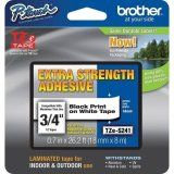 """Brother TZeS241 18mm (0.7"""") Black on White Tape with Extra Strength Adhesive 8m"""