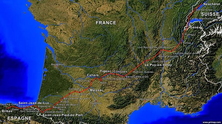 Tracé de notre chemin sur les Chemins de Saint-Jacques-de-Compostelle