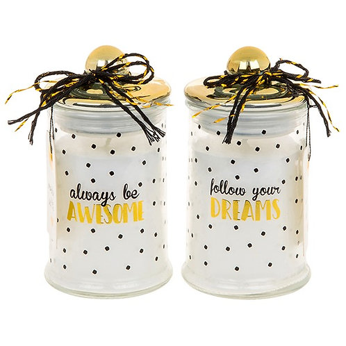 Gold Spotty gift Candle