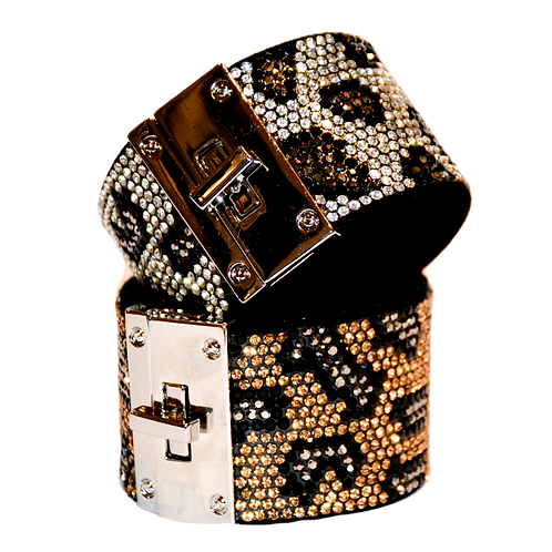 Animal pattern diamante cuff Bracelet