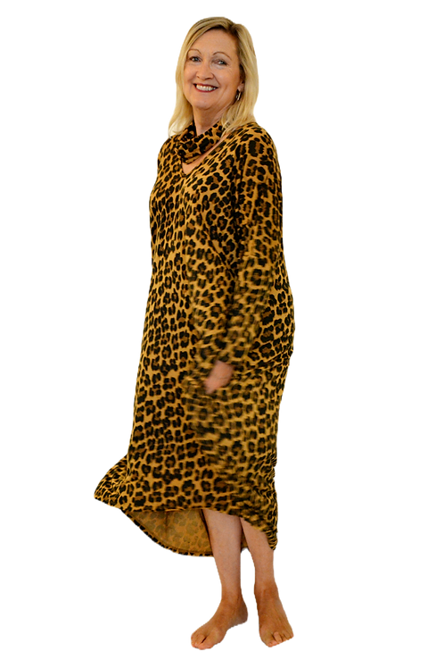Long Line Leopard Dress with snood