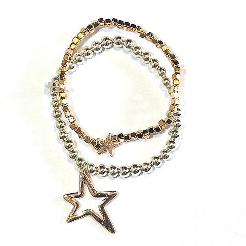 Double Star Gold & Silver Bracelet