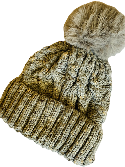 Speckle Cable knit Bobble hat