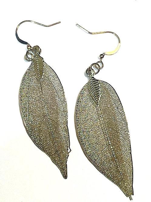 Dark Silver Leaf Earring