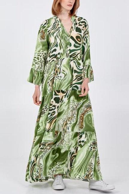 Abstract maxi leopard print dress
