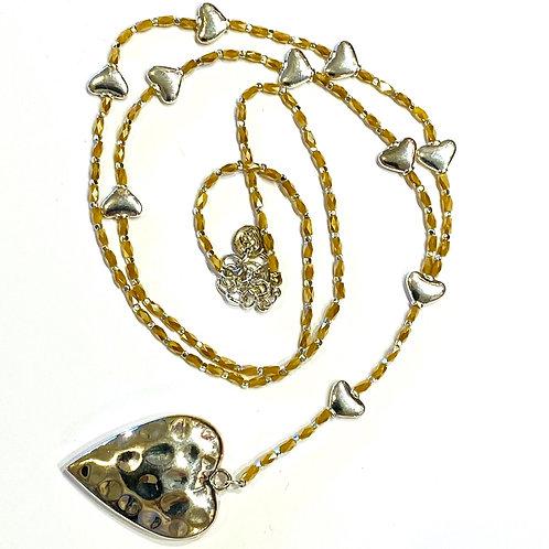 Long Heart Pendant with ochre