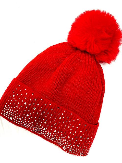Diamonte bobble hat