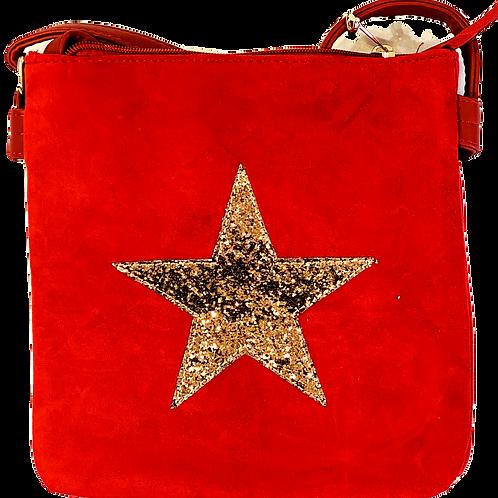 Faux Suede Star Bag