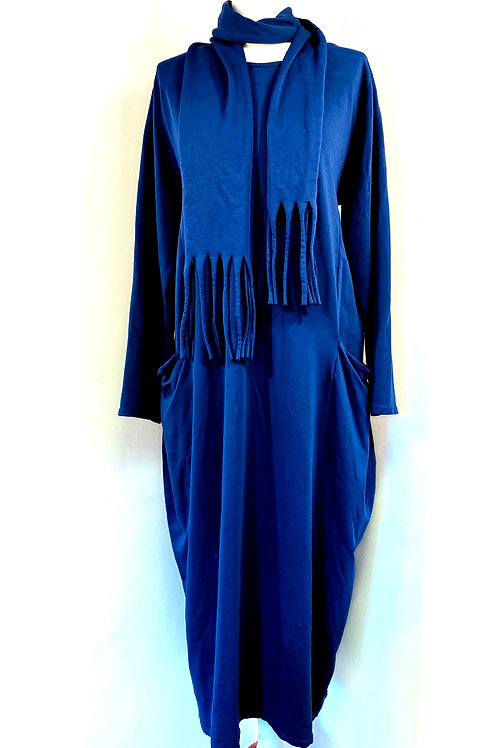 Long Jersey Dress with Scarf