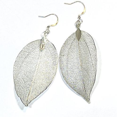 Silver Wide Leaf Earring