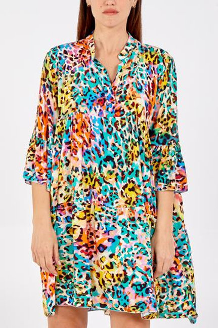 Water colour abstract leopard print dress