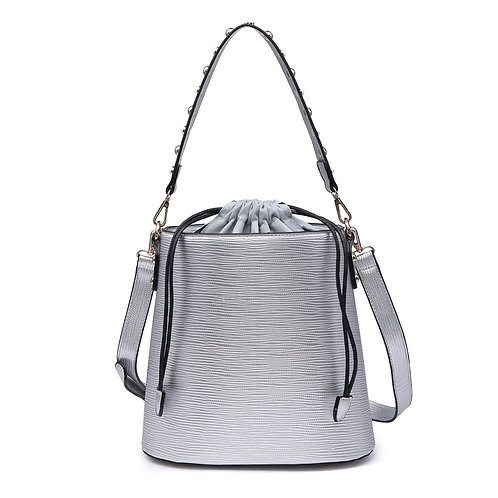 Studded strap bucket bag