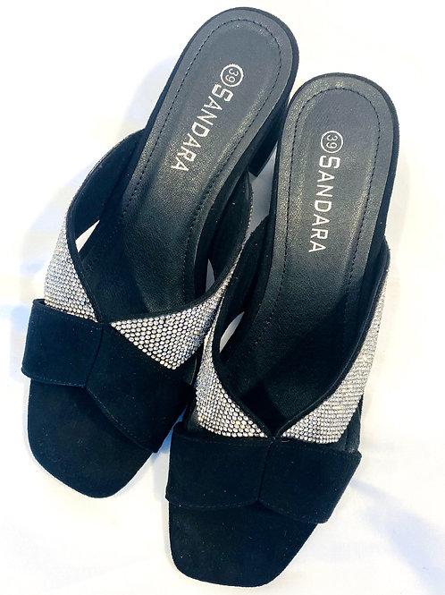 Bling block heel slip on