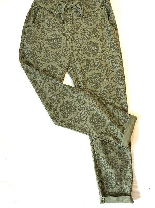Damask print trousers
